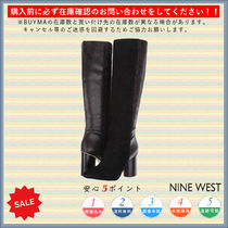 Nine West Round Toe Casual Style Plain Chunky Heels High Heel Boots