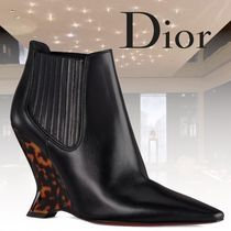 Christian Dior Suede Other Animal Patterns Elegant Style Wedge Boots