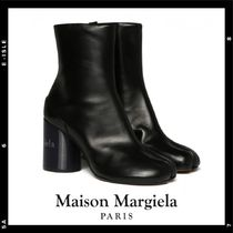 Maison Martin Margiela Round Toe Casual Style Leather Block Heels High Heel Boots