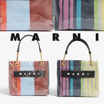 MARNI MARNI MARKET Stripes Casual Style Unisex Crystal Clear Bags PVC Clothing