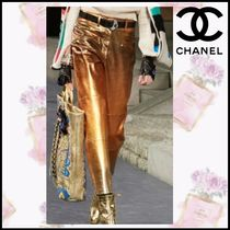 CHANEL Other Check Patterns Long Elegant Style Skinny Pants