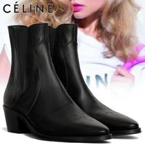 CELINE Plain Leather Block Heels Elegant Style Boots Boots