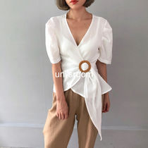 Linen Puffed Sleeves Plain Medium Elegant Style