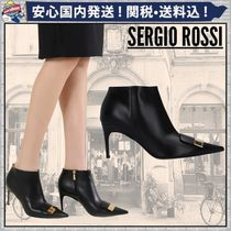 Sergio Rossi Plain Leather Pin Heels Elegant Style Ankle & Booties Boots
