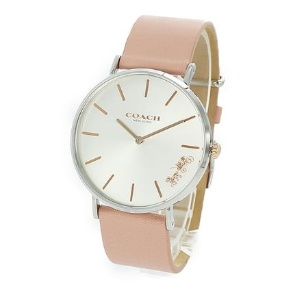Coach Casual Style Leather Round Quartz Watches Bridal