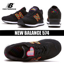 New Balance 574 Round Toe Rubber Sole Casual Style Street Style Plain