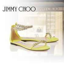 Jimmy Choo Open Toe Suede Studded Plain Party Style Espadrille Shoes