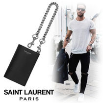 Saint Laurent Street Style Chain Plain Leather Folding Wallets