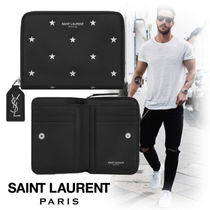 Saint Laurent Star Unisex Street Style Leather Folding Wallets