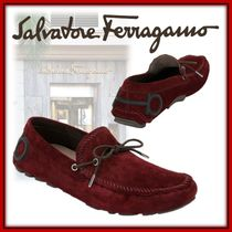 Salvatore Ferragamo Driving Shoes Suede Plain Bold Loafers & Slip-ons