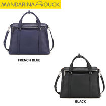 mandarinaduck Studded Street Style A4 2WAY Plain Leather Office Style