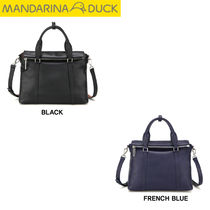 mandarinaduck Studded Street Style 2WAY Plain Leather Office Style Totes