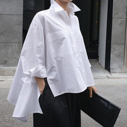Shirts & Blouses Street Style Plain Cotton Medium Office Style Gowns