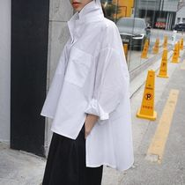 Street Style Long Sleeves Plain Cotton Medium Office Style