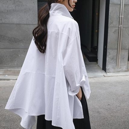 Shirts & Blouses Street Style Plain Cotton Medium Office Style Gowns 3