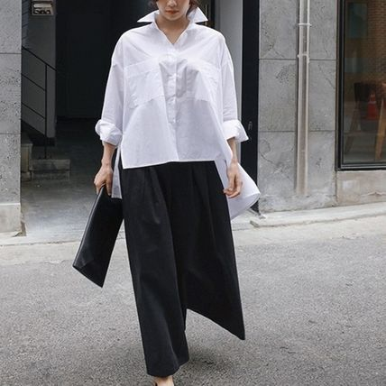 Shirts & Blouses Street Style Plain Cotton Medium Office Style Gowns 4
