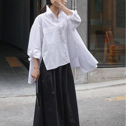 Shirts & Blouses Street Style Plain Cotton Medium Office Style Gowns 5