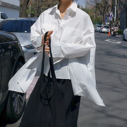 Shirts & Blouses Street Style Plain Cotton Medium Office Style Gowns 7