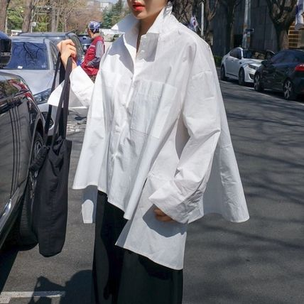 Shirts & Blouses Street Style Plain Cotton Medium Office Style Gowns 8