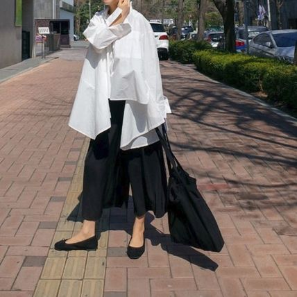 Shirts & Blouses Street Style Plain Cotton Medium Office Style Gowns 12