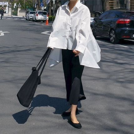 Shirts & Blouses Street Style Plain Cotton Medium Office Style Gowns 15