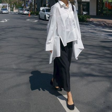 Shirts & Blouses Street Style Plain Cotton Medium Office Style Gowns 17