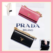 PRADA Casual Style Saffiano 2WAY Chain Plain Leather Party Style