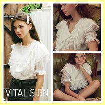 VITAL SIGN Casual Style Puffed Sleeves Plain Medium Lace