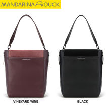 mandarinaduck Casual Style Studded Street Style A4 Plain Leather
