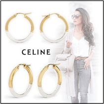 CELINE 2019-20AW SIMPLE FORMS HOOPS silver gold piercings