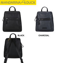 mandarinaduck Studded Street Style A4 Plain Leather Office Style Backpacks