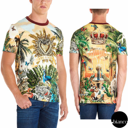 Dolce & Gabbana Crew Neck Crew Neck Tropical Patterns Street Style Cotton