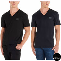 Dolce & Gabbana Street Style V-Neck Plain Cotton Short Sleeves