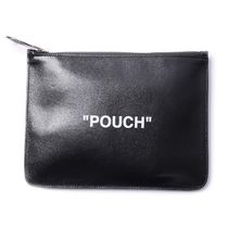 Off-White Unisex Street Style Plain Leather Clutches