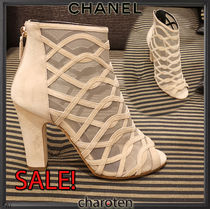 CHANEL ICON Open Toe Blended Fabrics Bi-color Plain Leather