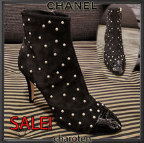 CHANEL ICON Blended Fabrics Bi-color Plain Leather Pin Heels
