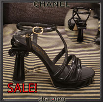 CHANEL ICON Open Toe Platform Plain Leather Elegant Style