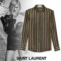 Saint Laurent Stripes Silk Long Sleeves Medium Shirts & Blouses