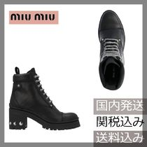 MiuMiu Round Toe Plain Leather Block Heels Ankle & Booties Boots
