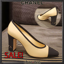 CHANEL ICON Plain Toe Blended Fabrics Bi-color Chain Plain Leather