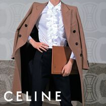 CELINE Long Sleeves Plain Cotton Formal Style  Front Button