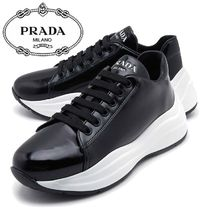 PRADA Wedge Plain Toe Leather Platform & Wedge Sneakers