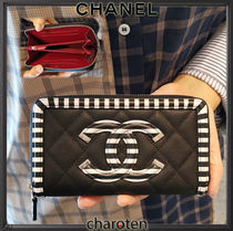 CHANEL ICON Stripes Unisex Calfskin Bi-color Long Wallets