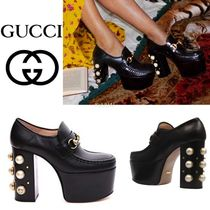 GUCCI Platform Blended Fabrics Plain Leather