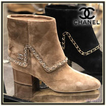 CHANEL Suede Chain Plain Block Heels Elegant Style