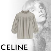 CELINE Casual Style Puffed Sleeves Plain Shirts & Blouses