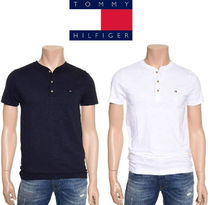 Tommy Hilfiger Henry Neck Plain Cotton Short Sleeves Henley T-Shirts