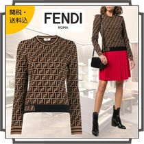 FENDI Crew Neck Monogram Rib Blended Fabrics Long Sleeves Medium