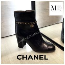 CHANEL Plain Leather Ankle & Booties Boots