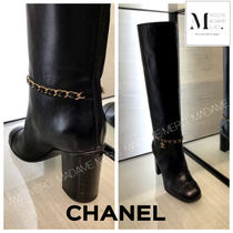 CHANEL Plain Leather Mid Heel Boots